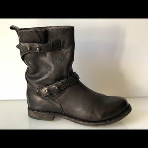 RAG BONE MOTORCYCLE RYDER BROWN LEATHER ANKLE BOOT